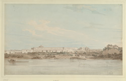 View of the Palace of Nawab Shuja-ud-daula, Lucknow, from the River Gumti (U.P.). 14-16 August 1789
